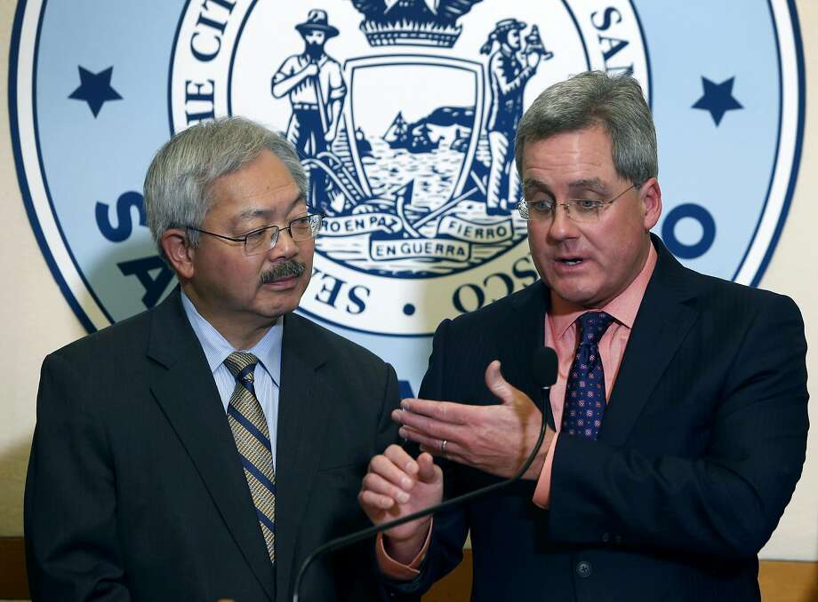 City Attorney Dennis Herrera and Mayor Ed Lee announce that a federal lawsuit has been filed by the city in San Francisco, Calif. on Tuesday, Jan. 31, 2017 against President Donald Trump for his executive order against sanctuary cities and the threat to withhold federal funding for cities that do not comply. Photo: Paul Chinn, The Chronicle