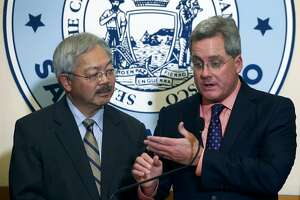 City Attorney Dennis Herrera and Mayor Ed Lee announce that a federal lawsuit has been filed by the city in San Francisco, Calif. on Tuesday, Jan. 31, 2017 against President Donald Trump for his executive order against sanctuary cities and the threat to withhold federal funding for cities that do not comply.