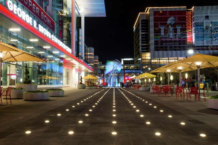 The lights embedded in Avenida Houston's walkway are meant to look like a runway, for people landing in Houston. (For more photos, scroll through the gallery.) Photo: Michael Ciaglo, Houston Chronicle / © 2016  Houston Chronicle