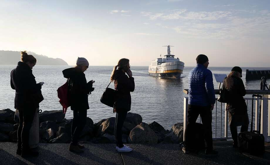 Passengers wait in line to board the Blue & Gold Fleet's Royal Star ferry as it nears Zelinsky Landing in Tiburon, where unexpected safety concerns have been raised. Photo: Paul Chinn, The Chronicle