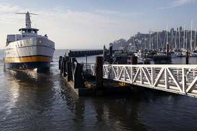 The Blue & Gold Fleet's Royal Star departs from Zelinsky Landing in Tiburon, Calif. to ferry passengers to San Francisco on Tuesday, Jan. 31, 2017. Golden Gate Ferry was scheduled to take over the Tiburon to San Francisco morning and afternoon commuter routes from the Blue & Gold Fleet this week but safety concerns raised by the Angel Island Tiburon Ferry Company, which also uses the same marina, has delayed the transition.