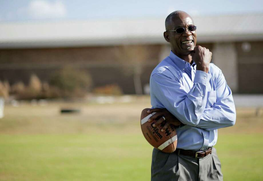 Roynell Young stands on the football field, where the new Pro-Vision school building will be built on Thursday, Jan. 12, 2017, in Houston. ( Elizabeth Conley / Houston Chronicle ) Photo: Elizabeth Conley, Staff / © 2017 Houston Chronicle