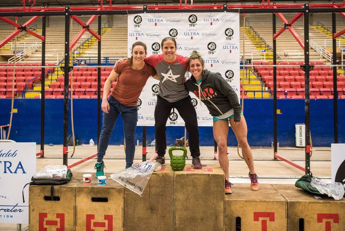 Jessica Aelvoet (middle,) a San Antonio native, toughed a gauntlet of workouts during the The Fittest Games in Austin last weekend to become the 2017 Pro Women's Champion.