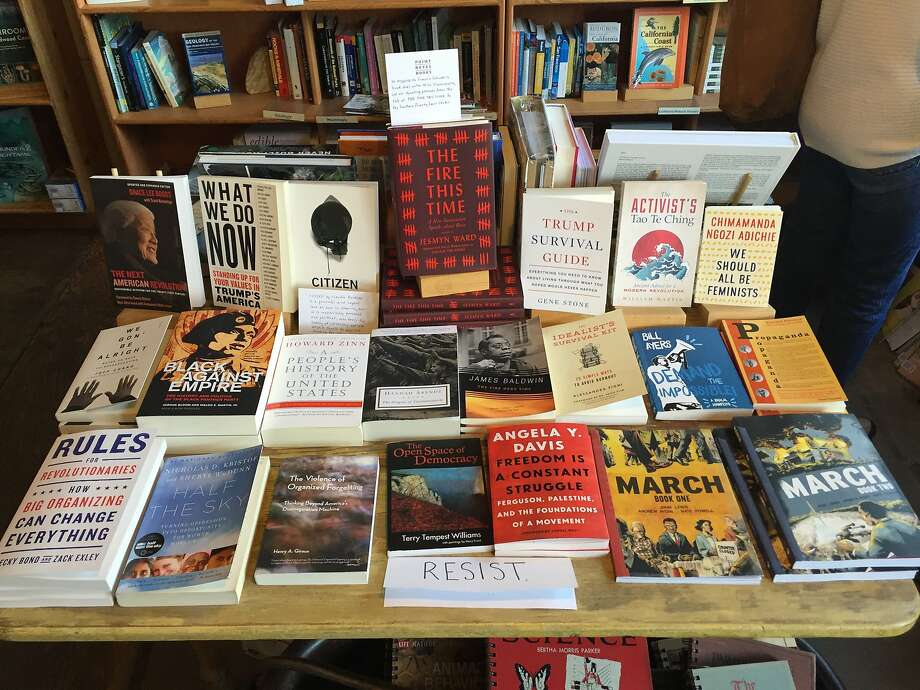 Point Reyes Books' new table of books about resistance. Photo: John McMurtrie / The Chronicle