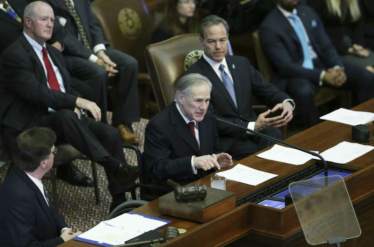 Governor Greg Abbott delivers the State of the State Address in the House Chamber of the Texas Capitol on January, 31, 2017. Lt. Governor Dan Patrick and Speaker of the House Joe Straus sit on the lecturn with the Governor.