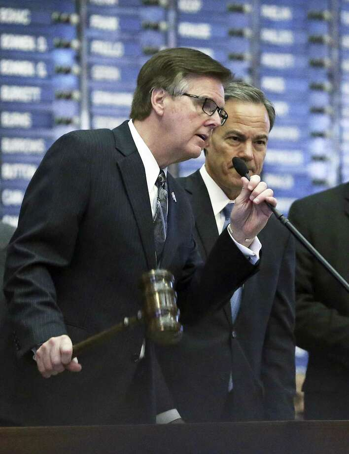 In the upcoming special session, taxpayers could benefit if Lt. Gov. Dan Patrick, shown here gaveling members of the Senate into joint session Jan. 31, joins with House Speaker Joe Straus to compromise on property tax reform. Photo: Tom Reel /San Antonio Express-News / 2017 SAN ANTONIO EXPRESS-NEWS
