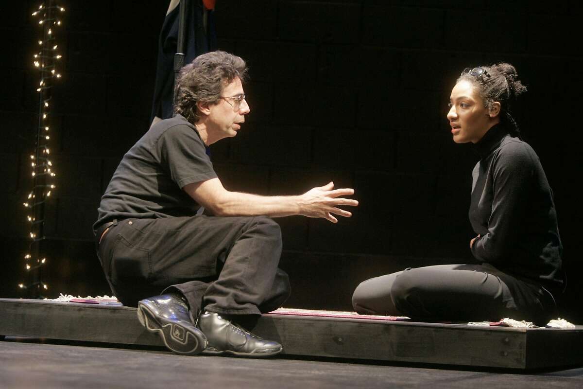 Feature on Sarah Jones(right) and Tony Taccone(left) rehearsing and doing public workshops of Jones' new Broadway-bound solo piece,