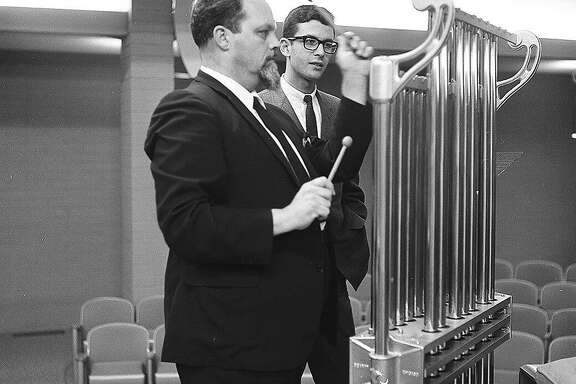 The late composer Lou Harrison (left), whose centennial is being celebrated by Other Minds and other organizations this year,�� is seen here in 1966 with Charles Amirkhanian, who later founded��Other Minds.