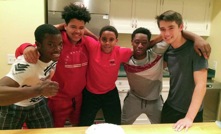 Rajon Mitchell, from left, Ryan Hernandez, Adrian Davis, Josiah Jones and Kai Clancy at the ABC House in New Canaan, CT. Photo: Contributed Photo / New Canaan News