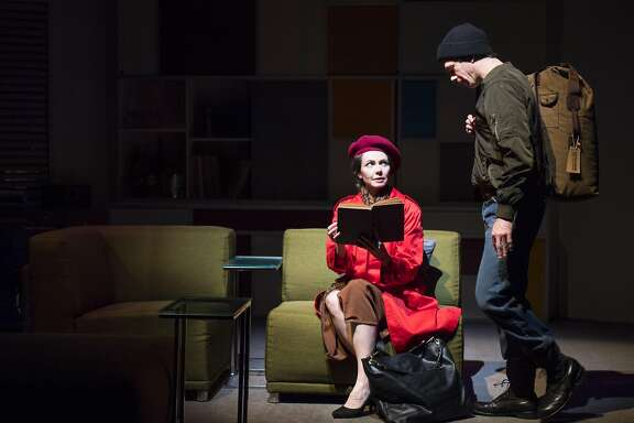 """Annie (Liz Sklar) meets Brodie (Tommy Gorrebeeck)�for the first time in Aurora Theatre Company�s """"The Real Thing."""""""