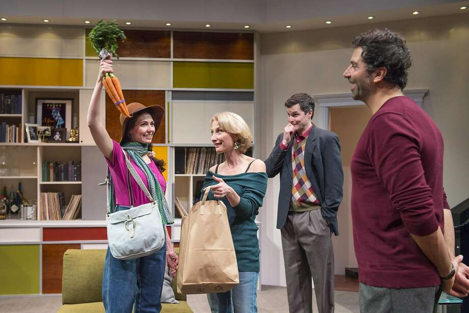 """From left:Annie (Liz Sklar) surprises Charlotte (Carrie Paff), Max (Seann Gallagher) and Henry (Elijah Alexander) with crudité in Aurora Theatre Company's """"The Real Thing."""" Photo: David Allen, Aurora Theatre Company"""