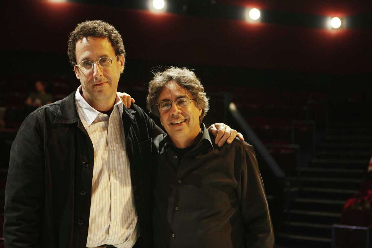 Playwright Tony Kushner and Berkeley Rep director Tony Taccone stand for a portrait at Thrust Stage before the start of