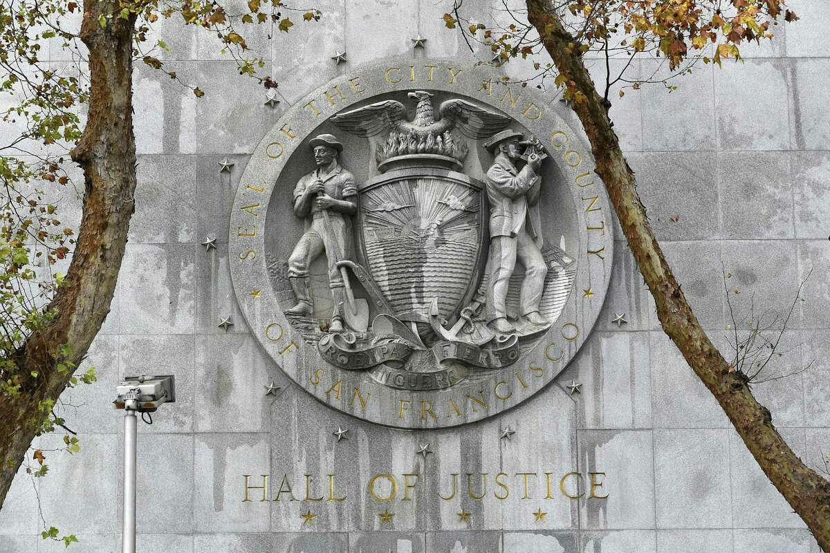 A seal is seen on the wall outside the Hall of Justice in San Francisco, CA Thursday, December 3, 2015.