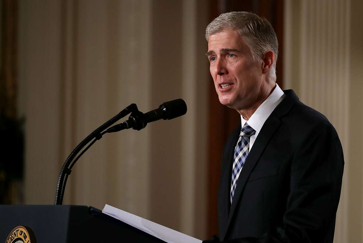 WASHINGTON, DC - JANUARY 31: Judge Neil Gorsuch delivers brief remarks after being nominated by U.S. President Donald Trump to the Supreme Court during a ceremony in the East Room of the White House January 31, 2017 in Washington, DC. If confirmed, Gorsuch would fill the seat left vacant with the death of Associate Justice Antonin Scalia in February 2016. (Photo by Chip Somodevilla/Getty Images)