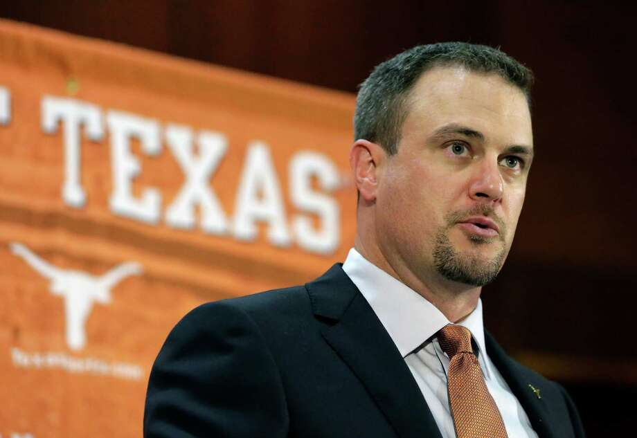 FILE - In this Nov. 27, 2016, file photo, Tom Herman talks to the media during a news conference where he was introduced as coach of the Texas college football team. Considering all the hype about Herman, there will not be much of a grace period for him in Austin. Former coach Charlie Strong left behind a pretty good roster and told the world that the Longhorns would win 10 games in 2017 no matter who is coaching. (AP Photo/Eric Gay, File) Photo: Eric Gay, STF / Copyright 2016 The Associated Press. All rights reserved.