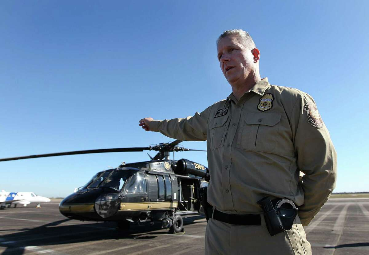 David Grantham, an air interdiction agent with Customs and Border Protection, briefed air security at Ellington Field in preparation for the Super Bowl.