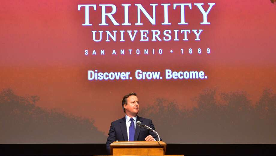 Former British Prime Minister David Cameron speaks at Trinitiy University's Laurie Auditorium Tuesday night.  Cameron was Prime Minister from 2010 to 2016 and resigned after the UK vote to leave the European Union. Photo: Robin Jerstad / San Antonio Express-News