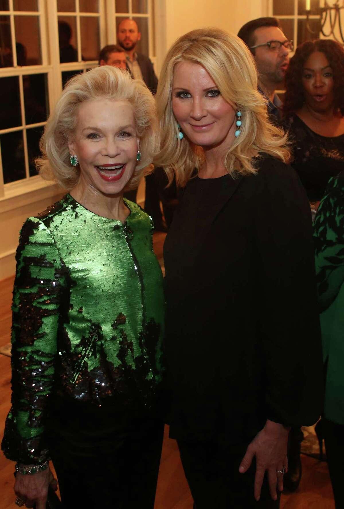 Lynn Wyatt and Sandra Lee enjoy a party celebrating BBVA's