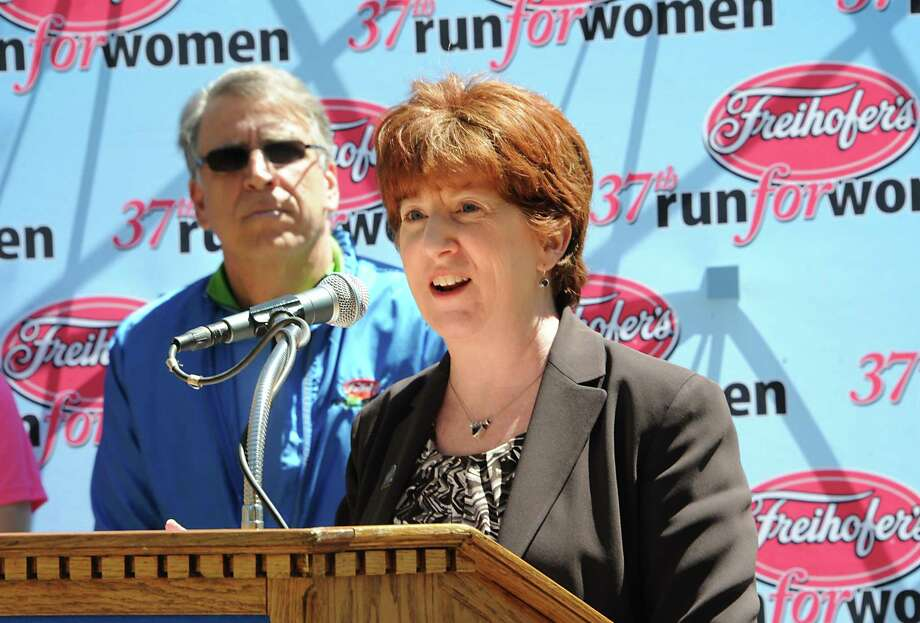 Freihofer's Run for Women director George Regan and Albany Mayor Kathy Sheehan announce a new course for the 37th running of the race on May 30 during a press conference on Tuesday, April 28, 2015 in Albany, N.Y.  (Lori Van Buren / Times Union) Photo: Lori Van Buren / 00031622A