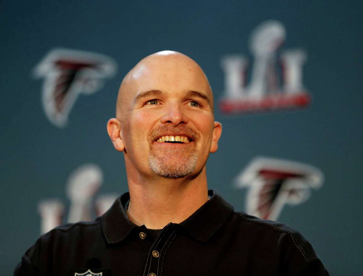 Atlanta Falcons head coach Dan Quinn speaks to the media during the Falcons media session at the Memorial City Mall Ice Arena, Wednesday, February 1, 2017.