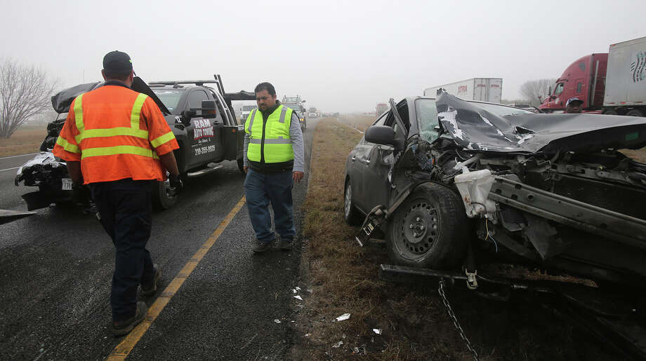 A portion of IH-37 northbound near U.S. highway 181 remains closed Wednesday morning February 1, 2017 after accidents took place involving multiple vehicles and atleast three 18-wheeler tractor trailer rigs. Heavy fog in the area may have been a factor in the accidents. There were no serious injuries. Photo: John Davenport