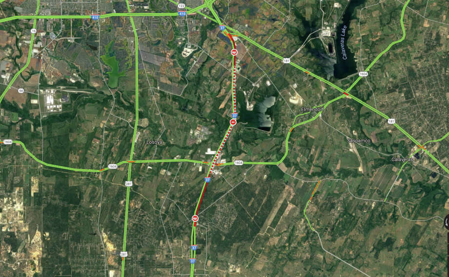 A screen grab of Google traffic maps at 11 a.m. shows I-37 still closed between Loop 410 and Loop 1604, with traffic backed up from the 1604 intersection to about Mathis Road, a distance of about 3 miles. Photo: Google Traffic