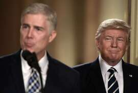 TOPSHOT - Judge Neil Gorsuch speaks, after US President Donald Trump nominated him for the Supreme Court, at the White House in Washington, DC, on January 31, 2017. President Donald Trump on nominated federal appellate judge Neil Gorsuch as his Supreme Court nominee, tilting the balance of the court back in the conservatives' favor. / AFP PHOTO / Brendan SMIALOWSKIBRENDAN SMIALOWSKI/AFP/Getty Images