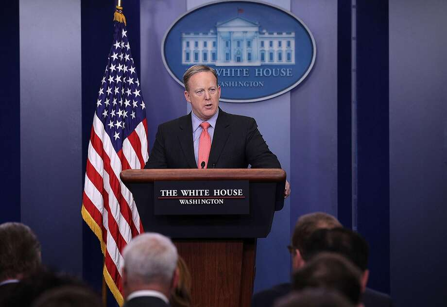 White House Press Secretary Sean Spicer speaks during the daily press briefing at the James Brady Press Briefing Room of the White House. Spicer has at times said the president's travel ban was not a ban, and then used the word himself. Photo: Alex Wong, Getty Images