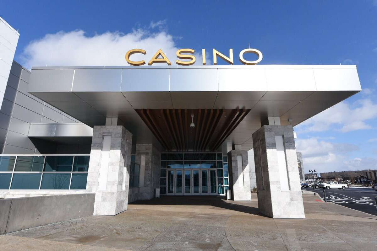 This is the view visitors will see when they walk up to Rivers Casino & Resort in Schenectady. The casino opens on Feb. 8 but its operators invited the media inside of a sneak preview on Wednesday. (Will Waldron / Times Union)