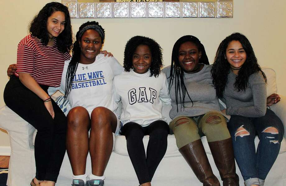 From left, Jenelsy Lopez, Hassana Arbubakrr, Alexus Mitchell, E'Sachi Smalls and Angie Jimenez at the ABC House in Darien on Jan. 25. Photo: Erin Kayata / Hearst Connecticut Media / Darien News