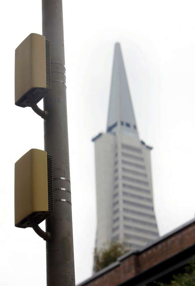The power amplifier for a small cell is seen on a light pole on Wednesday, February 2, 2017 in San Francisco, Calif. Photo: Lea Suzuki, The Chronicle