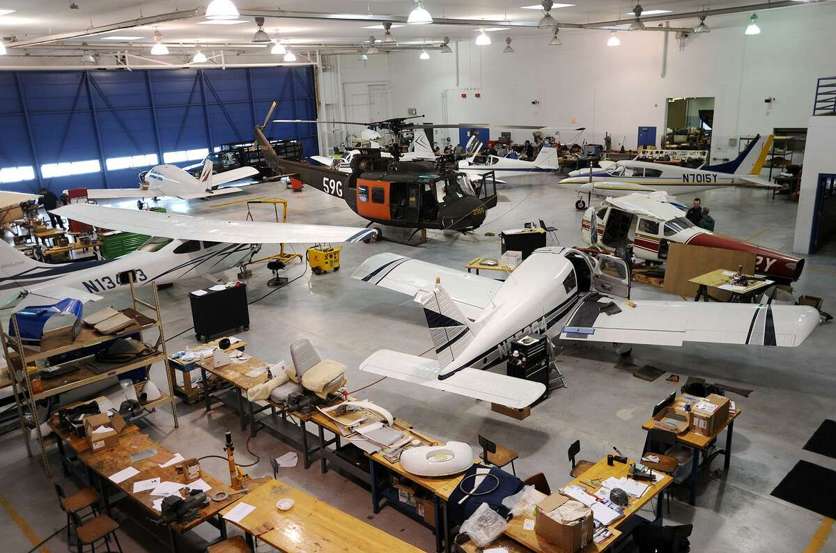The hangar where students learn aircraft repair and maintenance at the Stratford School for Aviation at Sikorsky Airport in Stratford, Conn. on Wednesday, February 1, 2017. The school is having an open house event on Saturday.