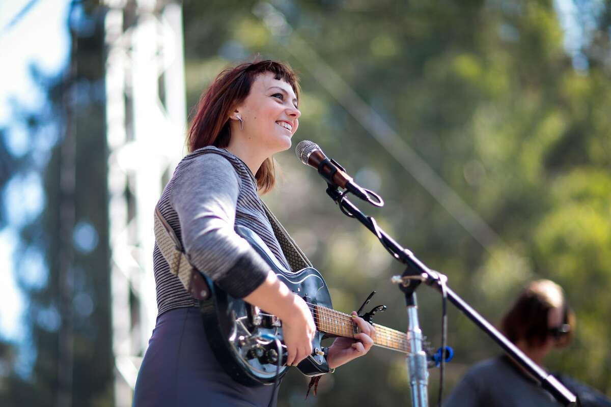 Angel Olsen performs on the Rooster Stage at the 2015 Hardly Strictly Bluegrass music festival on Sunday, Oct. 4, 2015 in San Francisco, Calif.