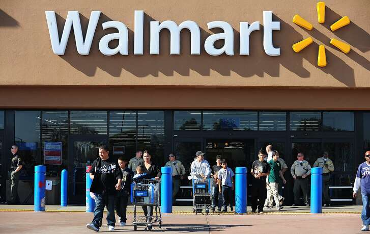 (FILES) This file photo taken on November 23, 2012 shows shoppers at  a Walmart store in Paramount, California. The US retail giant Wal-Mart announced January 17, 2017 it wants to create 10,000 jobs in the United States in 2017, a few days before the inauguration of Donald Trump, who has been pressing companies to expand their business on US soil.  / AFP PHOTO / FREDERIC J. BROWNFREDERIC J. BROWN/AFP/Getty Images