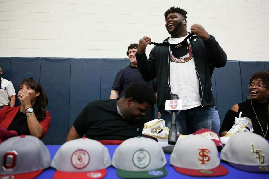 PHOTOS: Browse through the photos for the Houston-area's top football recruits in the Class of 2018Episcopal defensive tackle Marvin Wilson laughs as he puts on a visor after announcing he will be attending Florida State University during national signing day Wednesday, Feb. 1, 2017 in Houston. Photo: Michael Ciaglo, Houston Chronicle / Michael Ciaglo