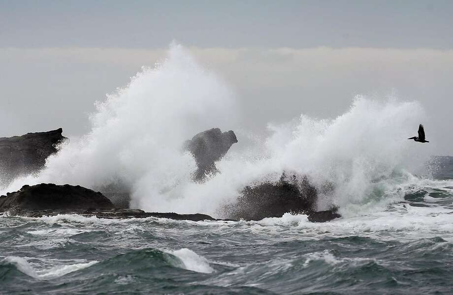 Waves crash onto rocks near the site of the Titans of Mavericks surf competition in Half Moon Bay, Calif. on Wednesday, Feb. 1, 2017. Photo: Paul Chinn / The Chronicle