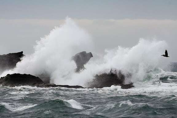 Waves crash onto rocks near the site of the Titans of Mavericks surf competition in Half Moon Bay, Calif. on Wednesday, Feb. 1, 2017. Organizers of the world class suring contest have filed for bankruptcy.