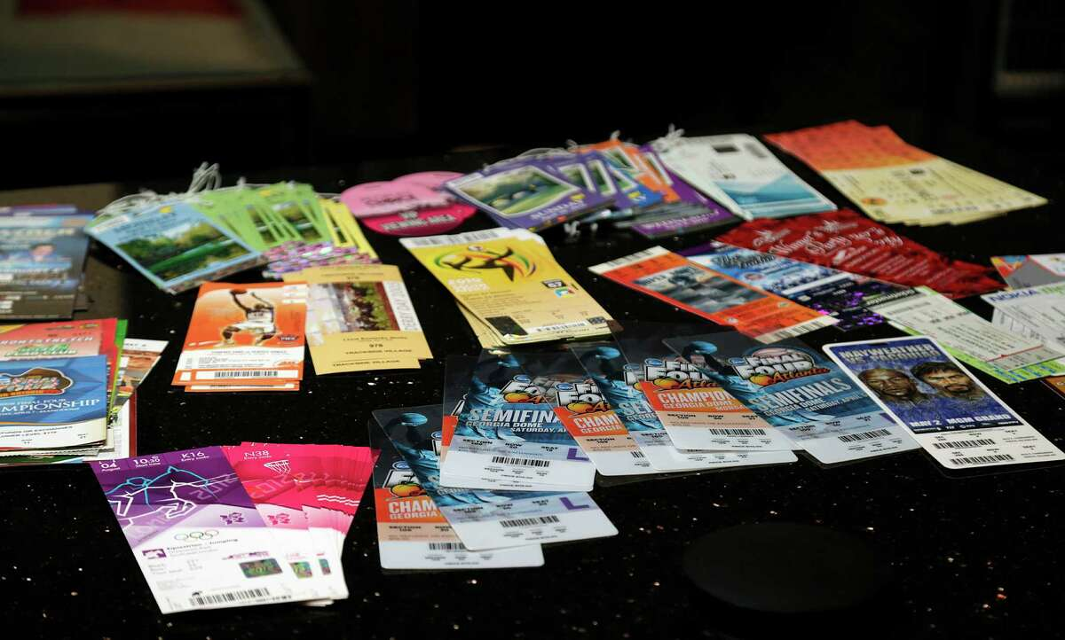 Sporting a special event tickets at On Point Events Friday, Jan. 27, 2017, in Houston. ( James Nielsen / Houston Chronicle )