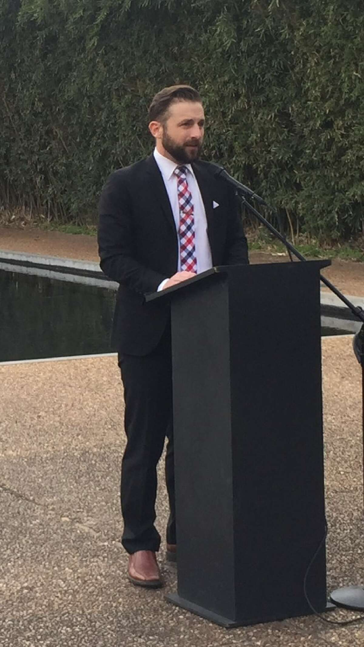 Jay Jenkins, an attorney for the Texas Criminal Justice Coalition, at a press conference in support of raising the age of criminal responsibility from 17 to 18.