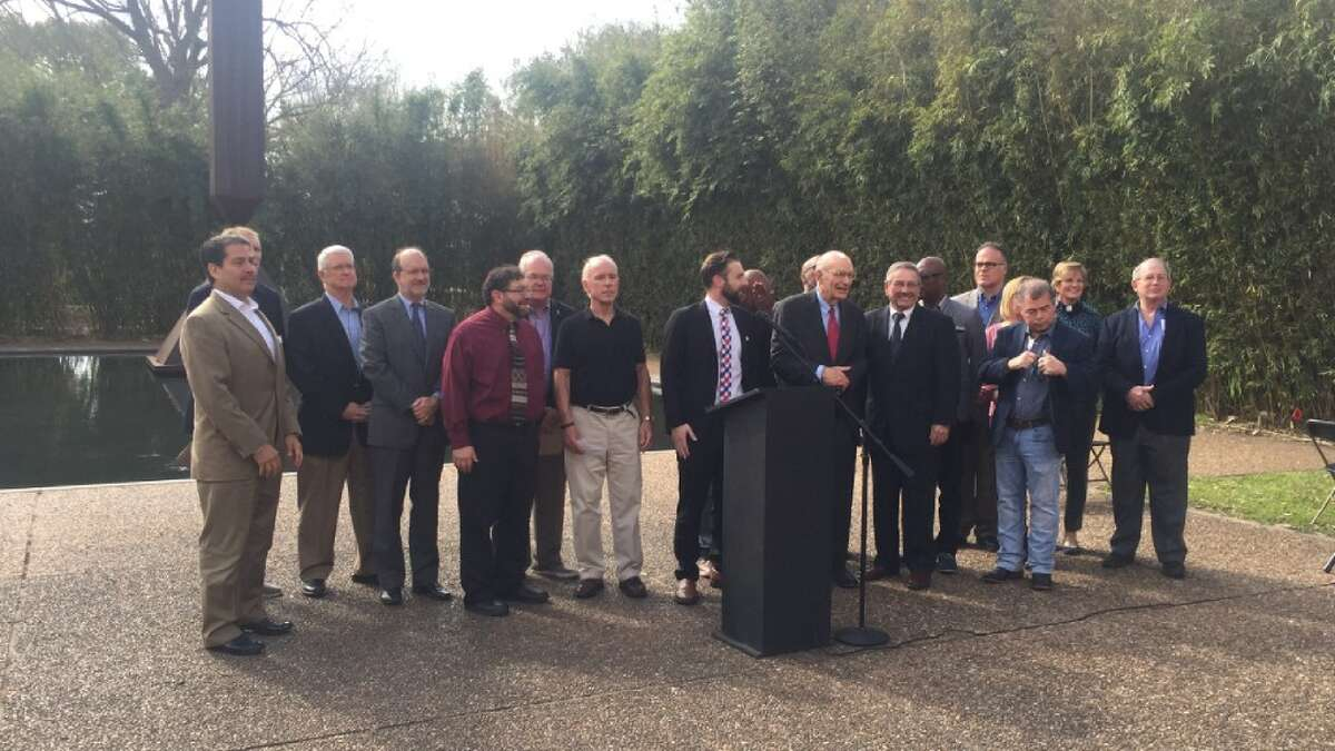 Faith leaders in Houston gather to support raising the age of criminal responsibility in Texas from 17 to 18. They held a press conference in front of Barnett Nelson's Broken Obelisk sculpture at the Rothko Chapel.