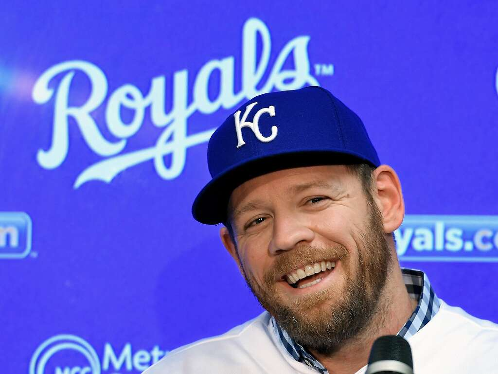The Kansas City Royals Brandon Moss During A News Conference To Announce First Baseman S