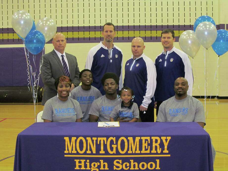 Montgomery High School Football Player, Waverly Hampton, signed his letter of intent to play at Kilgore College. Waverly is pictured with parents, Glenda and Waverly Hampton, Sr. Montgomery ISD personnel pictured are Athletic Director, Clint Heard, MHS Head Football Coach, John Bolfing, Defensive Coordinator Scott Herman, and Coach Shawn Gary. Photo: Photo Provided
