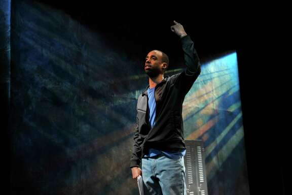 """""""Syncing Ink,"""" a hip-hop play written and performed by NSangou Njikam, is being performed at the Alley Theatre through March 5."""