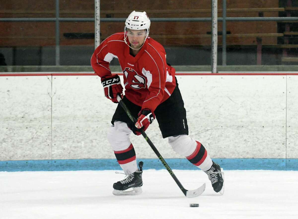John Quenneville takes part in Albany Devils practice at Knickerbacker Ice Arena on Monday, Oct. 3, 2016, in Troy, N.Y. (Paul Buckowski / Times Union) ORG XMIT: MER2017012615002660