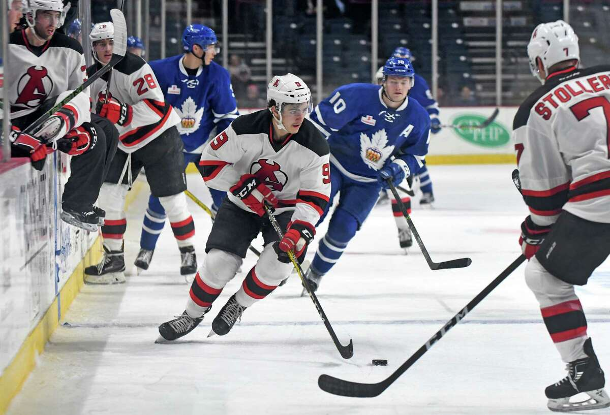 Devils center Joe Blandisi brings the puck up the ice during their hockey game against the Toronto Marlies at the Times Union Center on Tuesday Nov. 22, 2016 in Albany, N.Y. (Michael P. Farrell/Times Union) ORG XMIT: MER2016112220343973