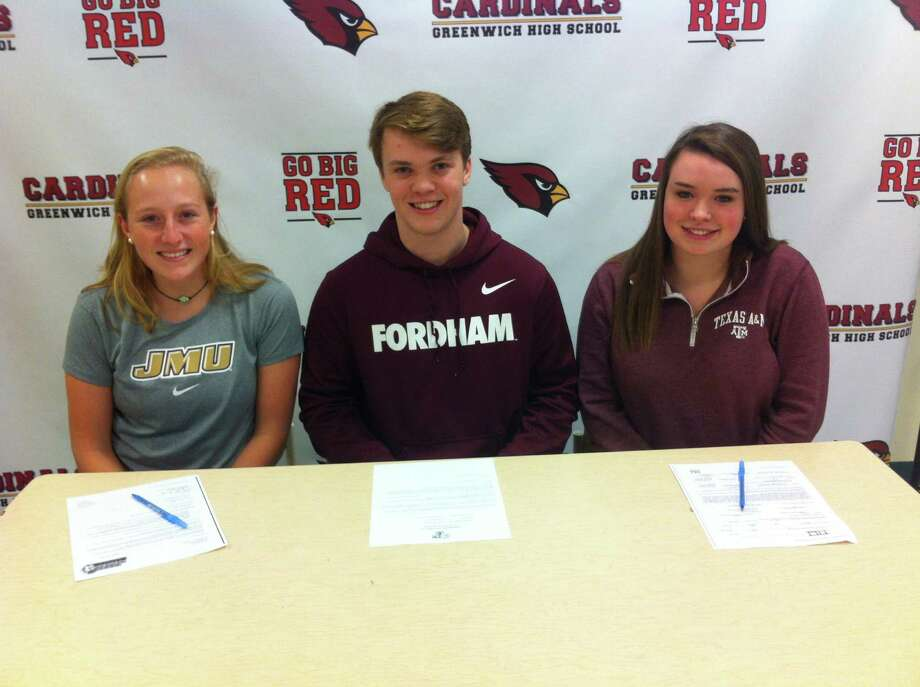 From left to right, Greenwich High School seniors Emma Barefoot, Paul Williams and Lindsay Schauder each signed National Letters of Intent to play sports at Division I schools Wednesday at Greenwich High School's media center. Barefoot will play soccer at James Madison University, Williams will play football at Fordham University and Schauder will take her equestrian skills to Texas A&M. February 1, 2017 Photo: David Fierro / Hearst Connecticut Media / David Fierro / Hearst Connecticut Media / Greenwich Time Contributed
