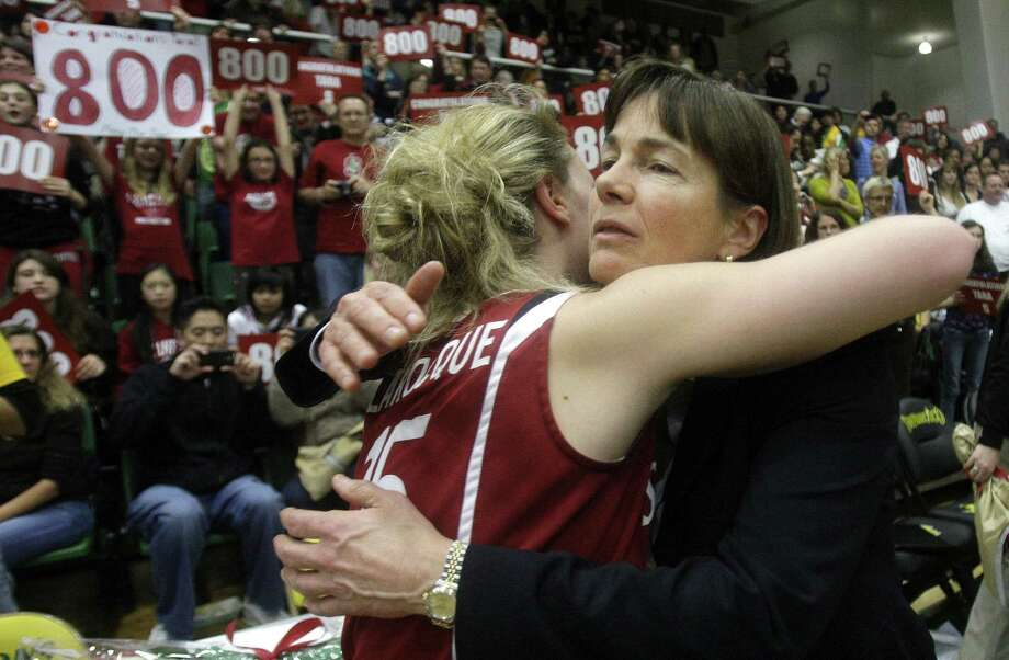 Stanford head coach Tara VanDerveer, right, celebrates with guard Lindy La Rocque (15) after Stanford beat San Francisco 100-45 for VanDerveer's 800th career coaching victory in 2010. Photo: Jeff Chiu / AP / ONLINE_YES