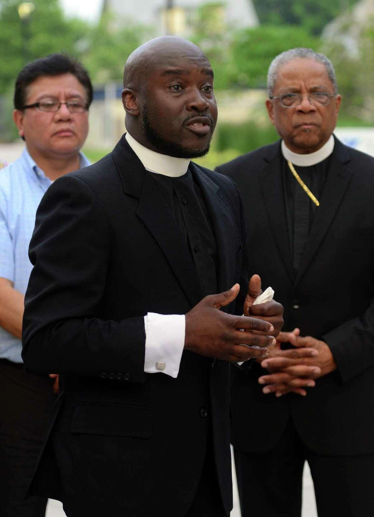 Bishop William Marshall at a vigil outside Bridgeport Hospital in Bridgeport, Conn., on Thursday June 11, 2015.