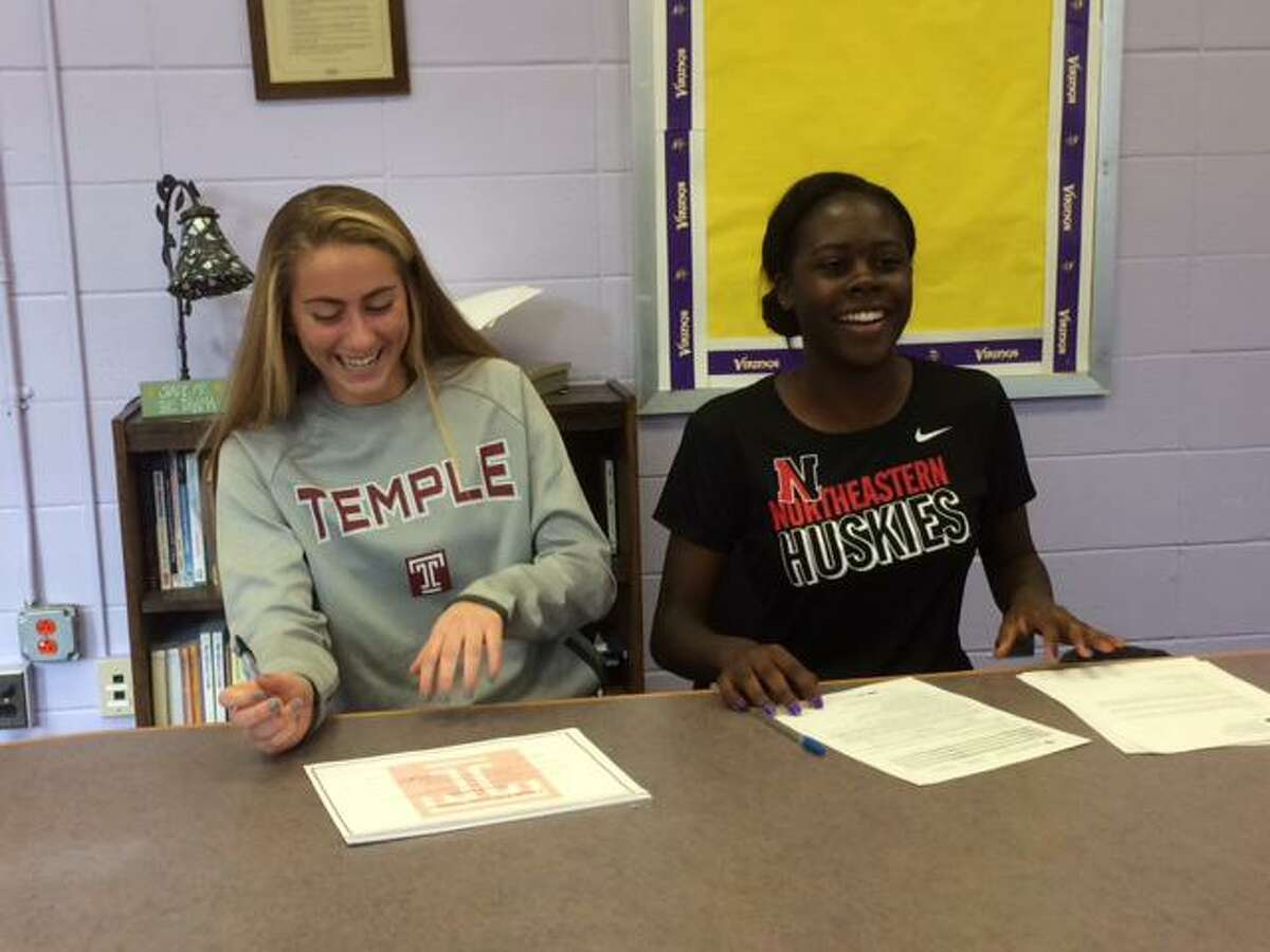 Westhill seniors Natalie Druehl and Chelsea Domond sign National Letters of intent to play women's soccer on Wednesday, February 01, 2017 at the school in Stamford. Druehl will play at Temple and Domond at Northeastern.
