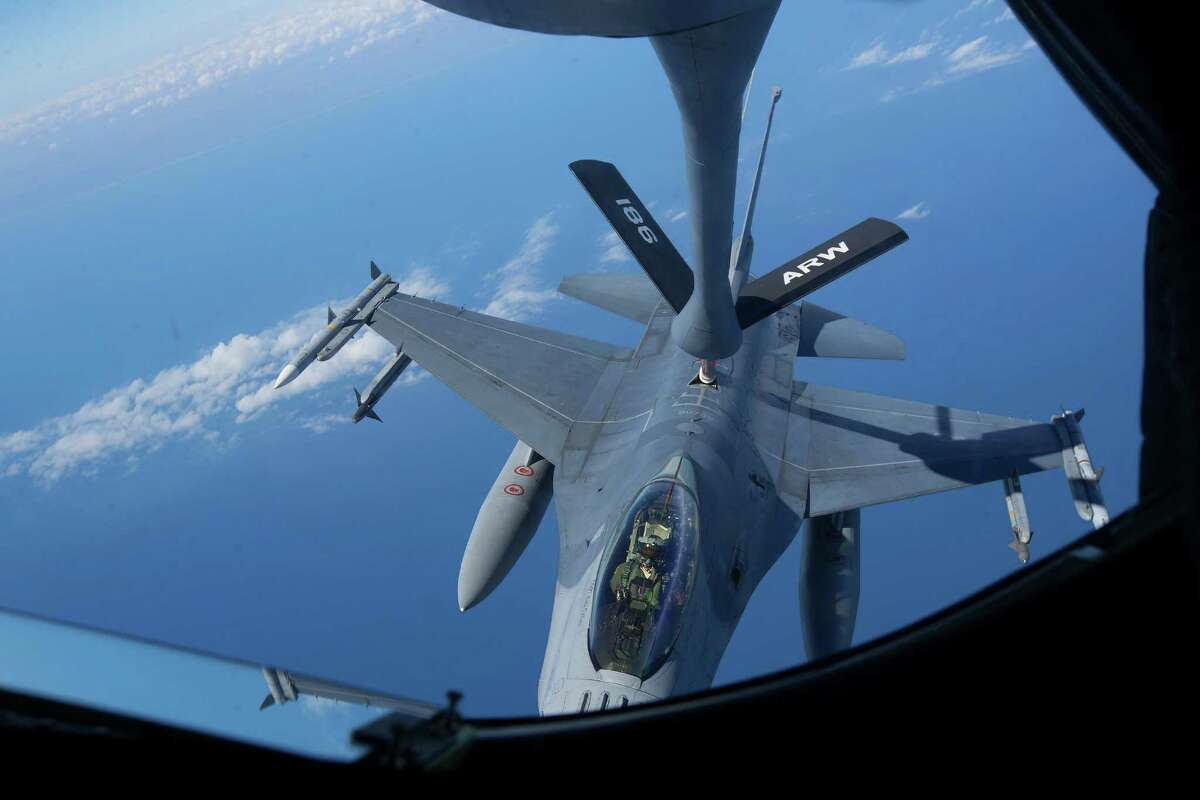 Staff Sgt. Nick Moore, with the 186th Air Refueling Wing, operates the boom on the back of a KC-135 Stratotanker while refueling an F-16 from the 138th Fighter Wing over the Gulf of Mexico. The Boeing K-46 Pegasus program could reach $44 billion in total revenues for Boeing, with the plane slated to replace the Air Force's existing fleet of KC-135 Stratotankers.